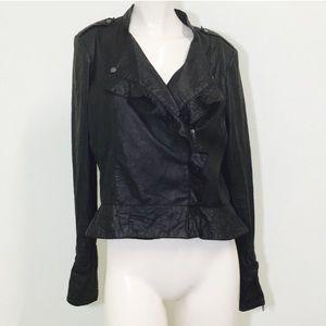 Gorgeous Black Leather Zip Ruffle Jacket!